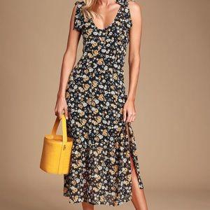 Lulu's Black Floral Print Tie-Strap Midi Dress